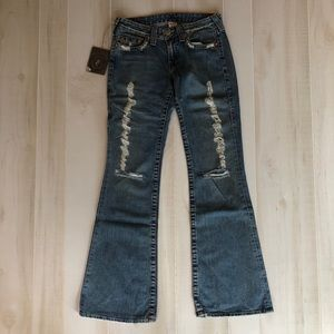NWT True Religion Bobby Destoryed Denim Jeans